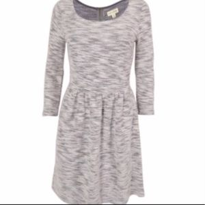 Gray and white fit and flare dress